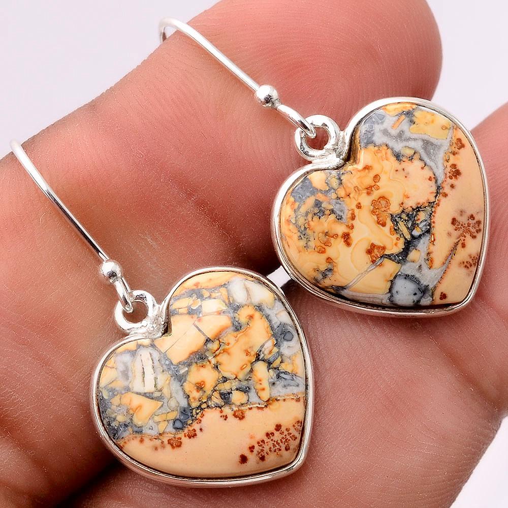 Heart Maligano Jasper Indonesia 925 Sterling Silver Earrings Jewelry SDE31676