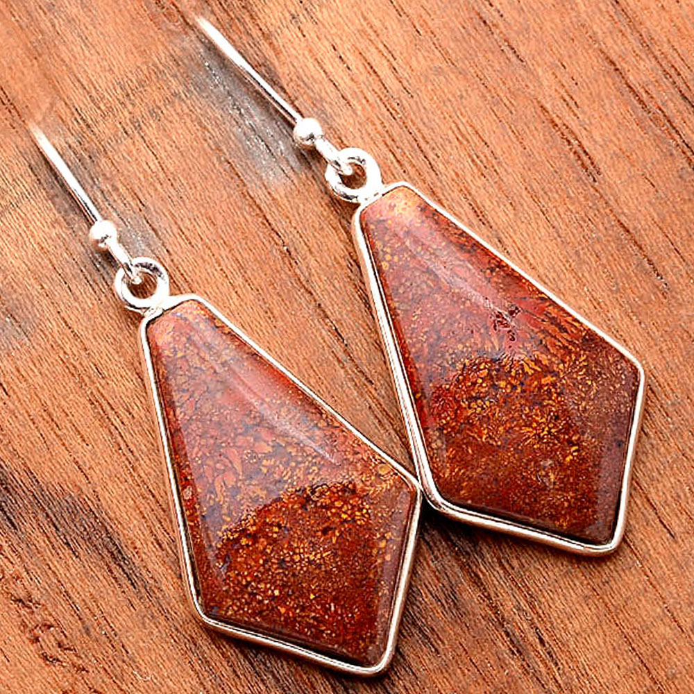 Natural Red Moss Agate 925 Sterling Silver Earrings Jewelry SDE31677