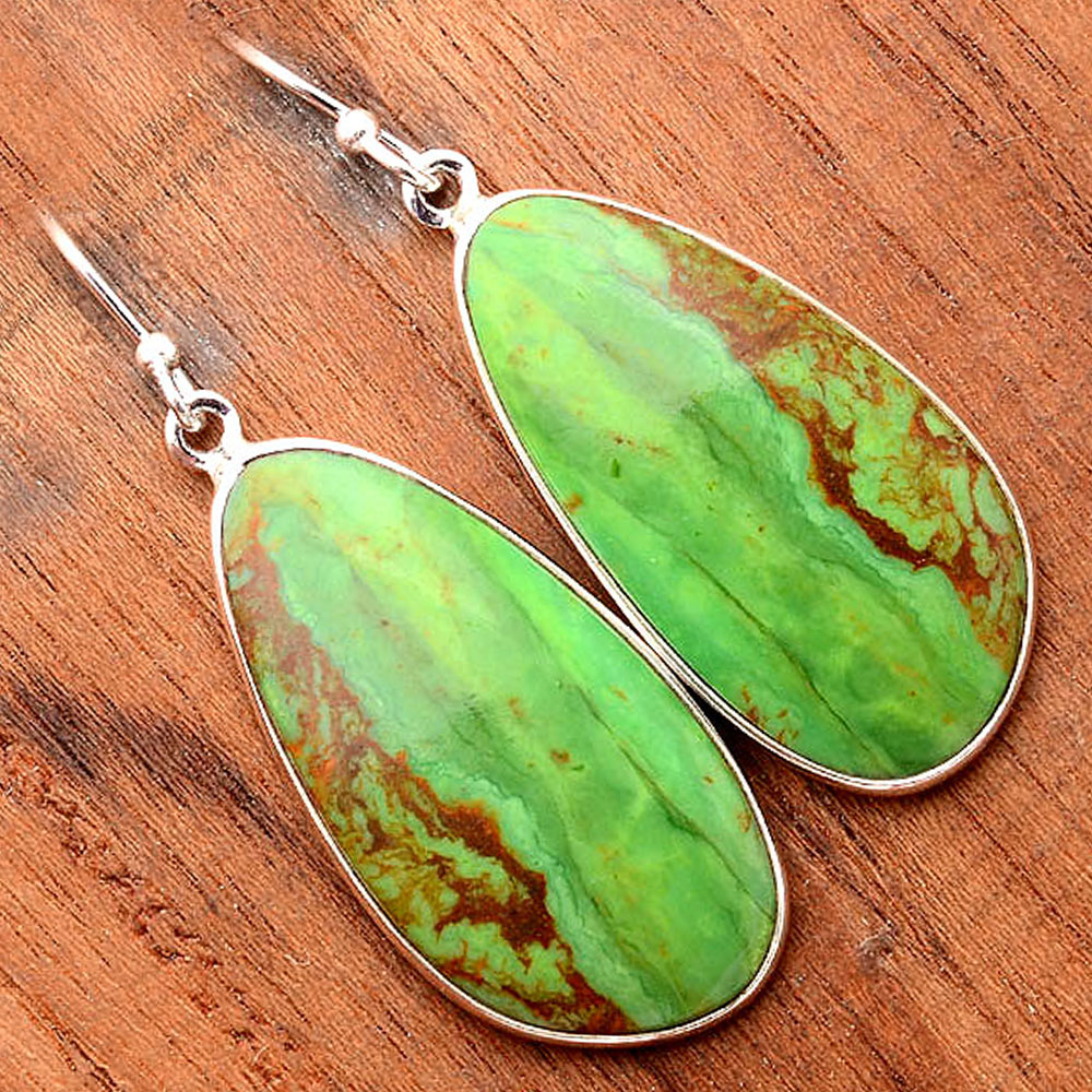 Green Mohave Turquoise - Arizona 925 Sterling Silver Earrings Jewelry SDE31678