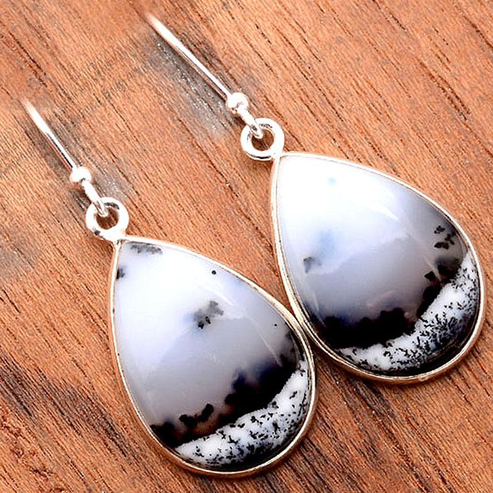 Merlinite Dendritic Opal Turkey 925 Sterling Silver Earrings Jewelry SDE31680