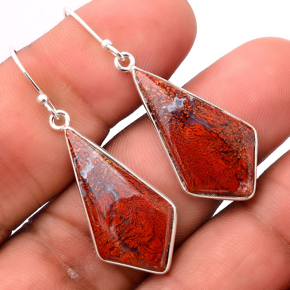 Natural Red Moss Agate 925 Sterling Silver Earrings Jewelry SDE31684