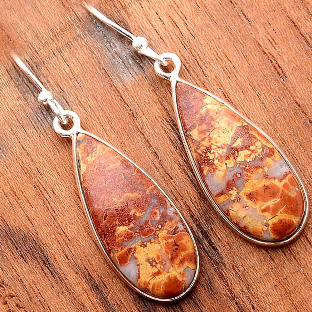 Maligano Jasper - Indonesia 925 Sterling Silver Earrings Jewelry SDE31685