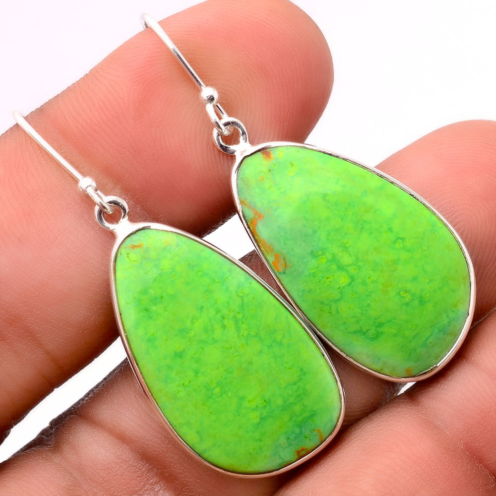 Green Mohave Turquoise - Arizona 925 Sterling Silver Earrings Jewelry SDE31687