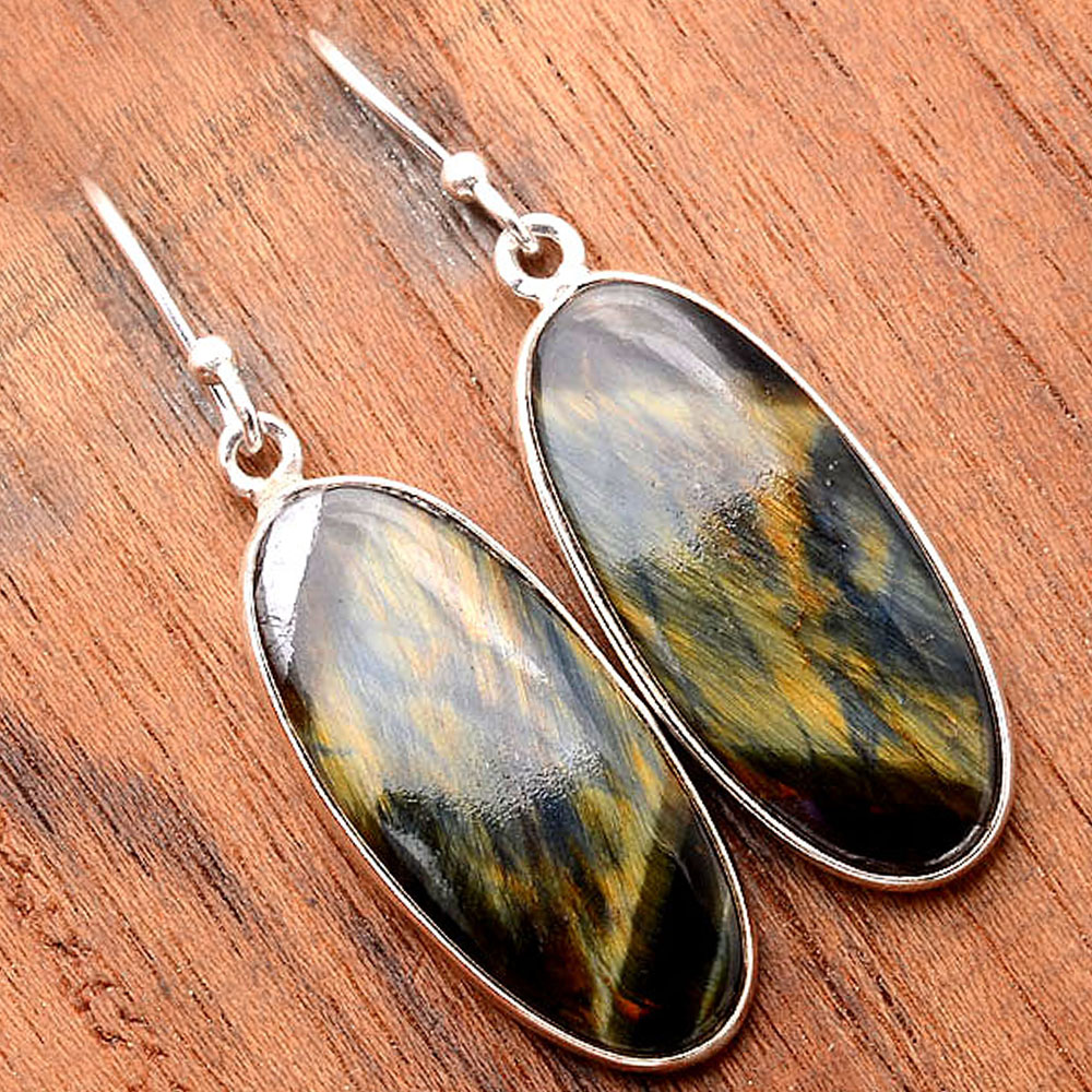 Natural Blue Tiger Eye 925 Sterling Silver Earrings Jewelry SDE31688