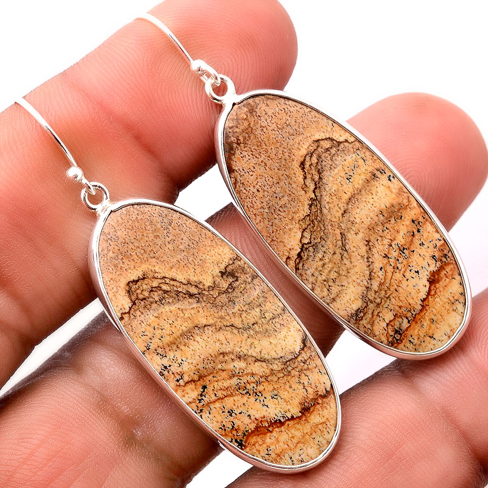 Natural Picture Jasper 925 Sterling Silver Earrings Jewelry SDE32404