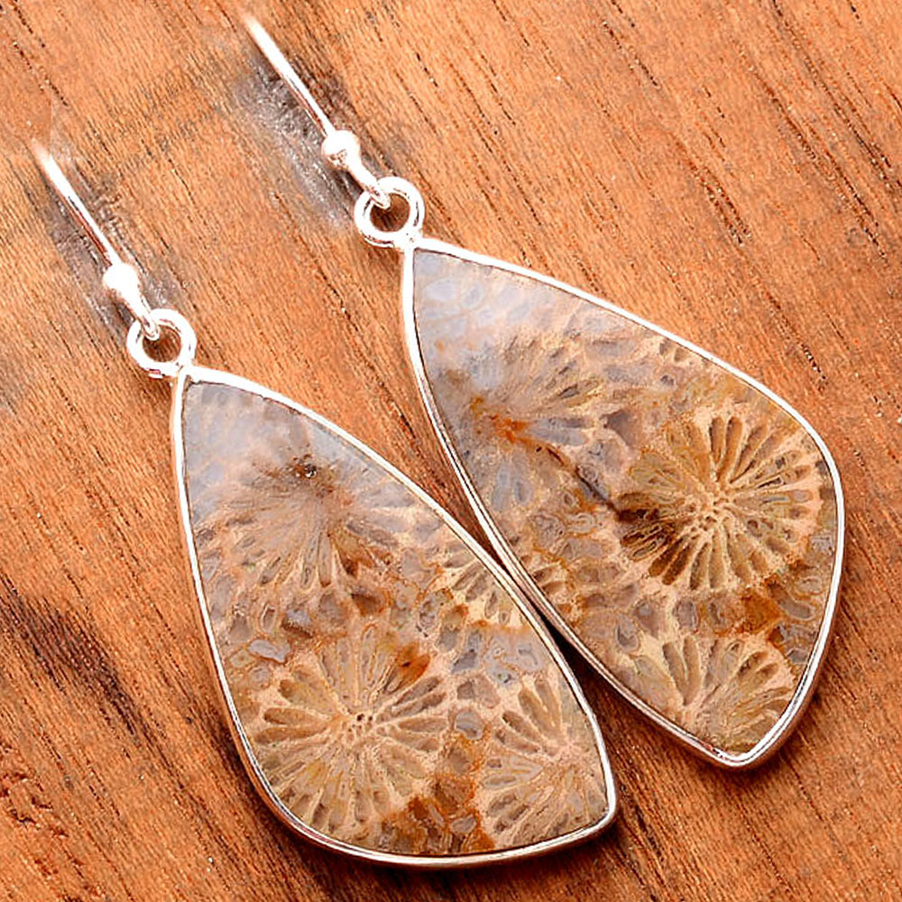 Flower Natural Fossil Coral 925 Sterling Silver Earrings Jewelry SDE32407