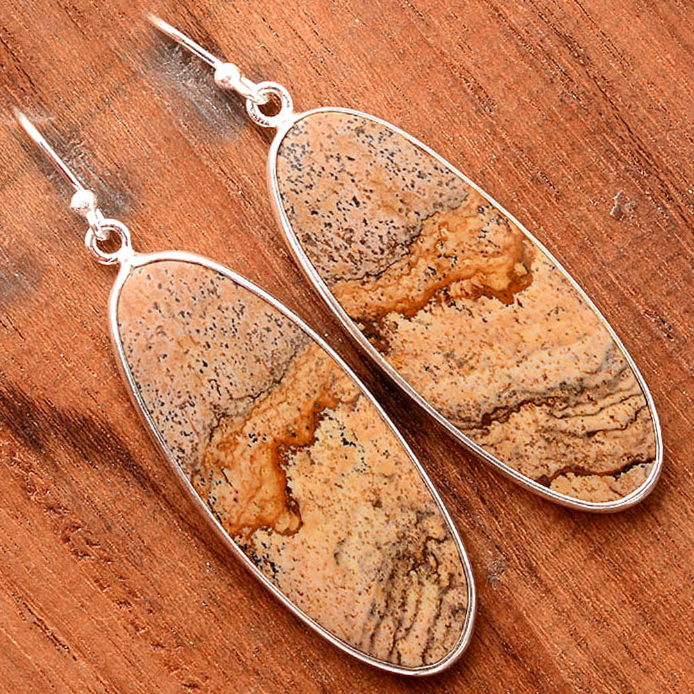 Natural Picture Jasper 925 Sterling Silver Earrings Jewelry SDE32409