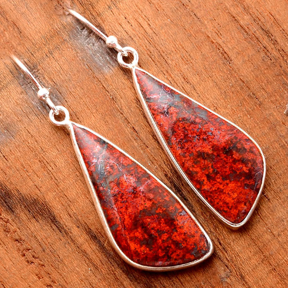 Natural Sonora Sunrise - Cuprite Blood 925 Sterling Silver Earrings Jewelry SDE32410
