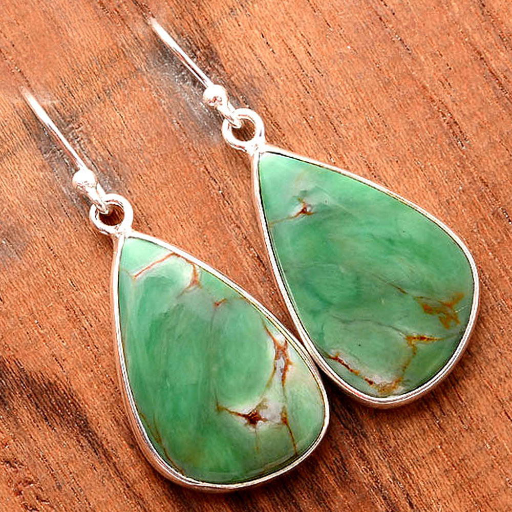 Natural Australian Variscite 925 Sterling Silver Earrings Jewelry SDE32411