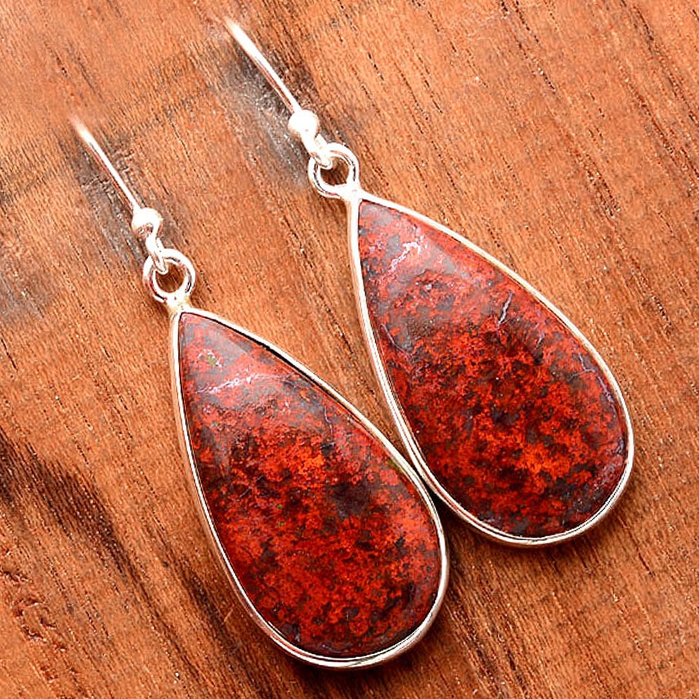 Natural Sonora Sunrise - Cuprite Blood 925 Sterling Silver Earrings Jewelry SDE32417