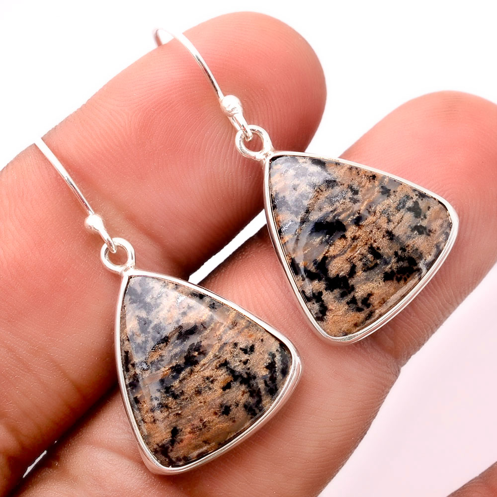 Natural Russian Honey Dendrite Opal 925 Sterling Silver Earrings Jewelry SDE32419