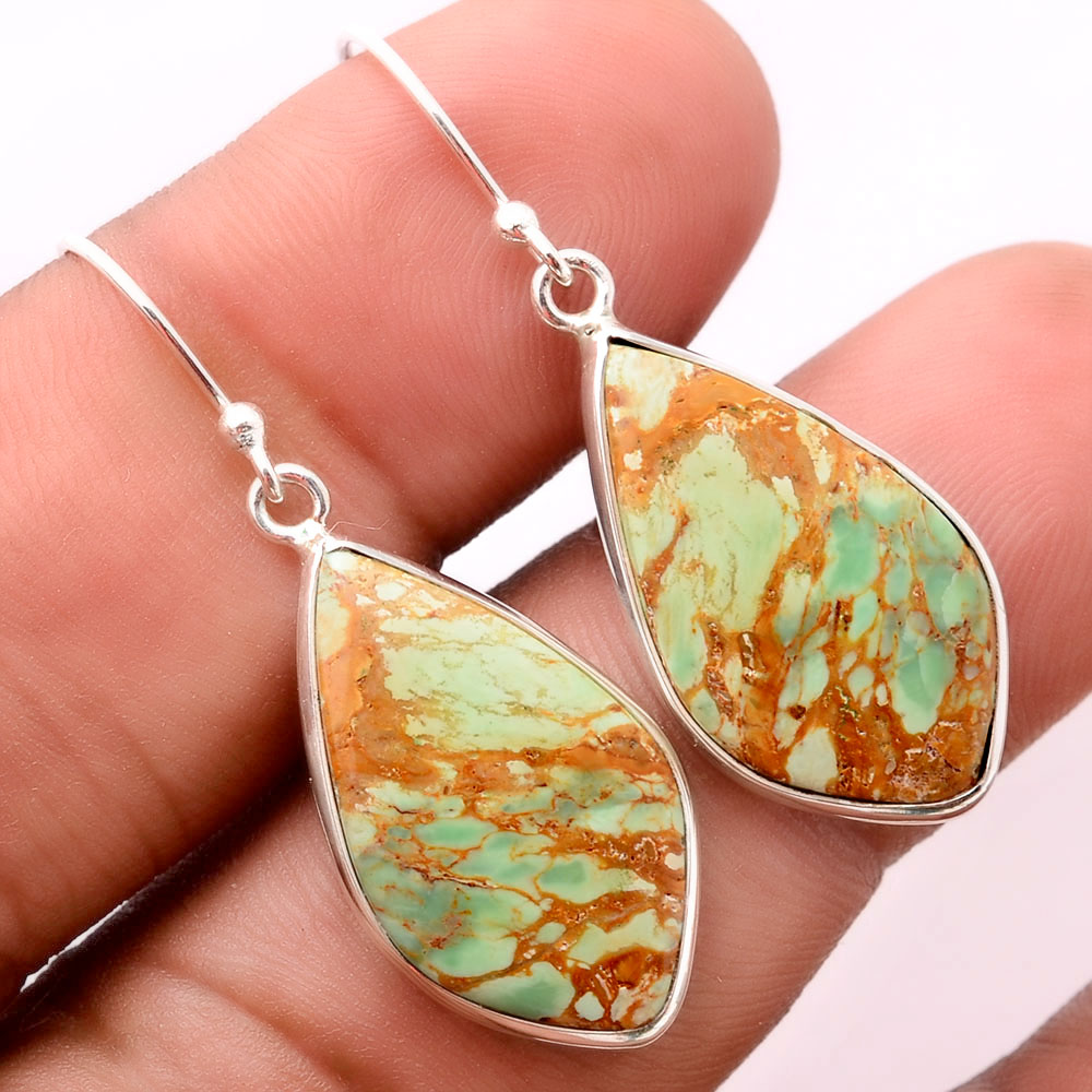 Natural Australian Variscite 925 Sterling Silver Earrings Jewelry SDE32420