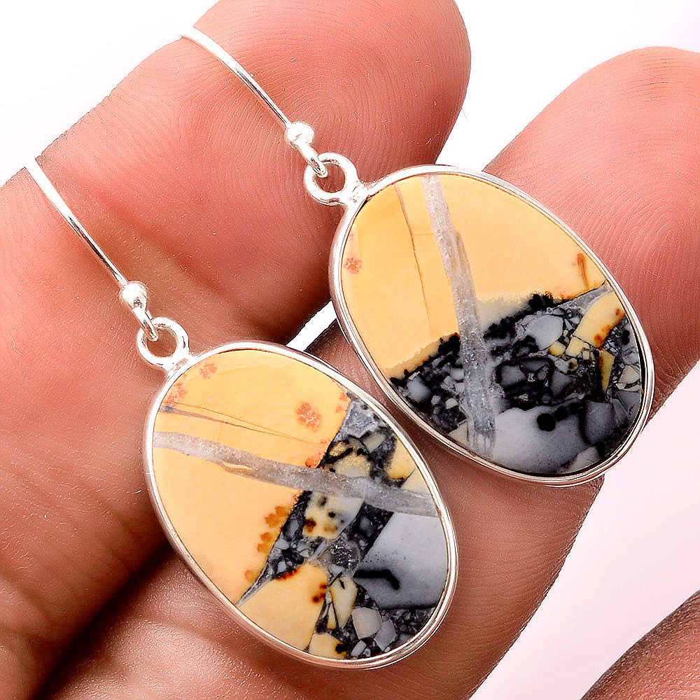 Natural Maligano Jasper - Indonesia 925 Sterling Silver Earrings Jewelry SDE32423