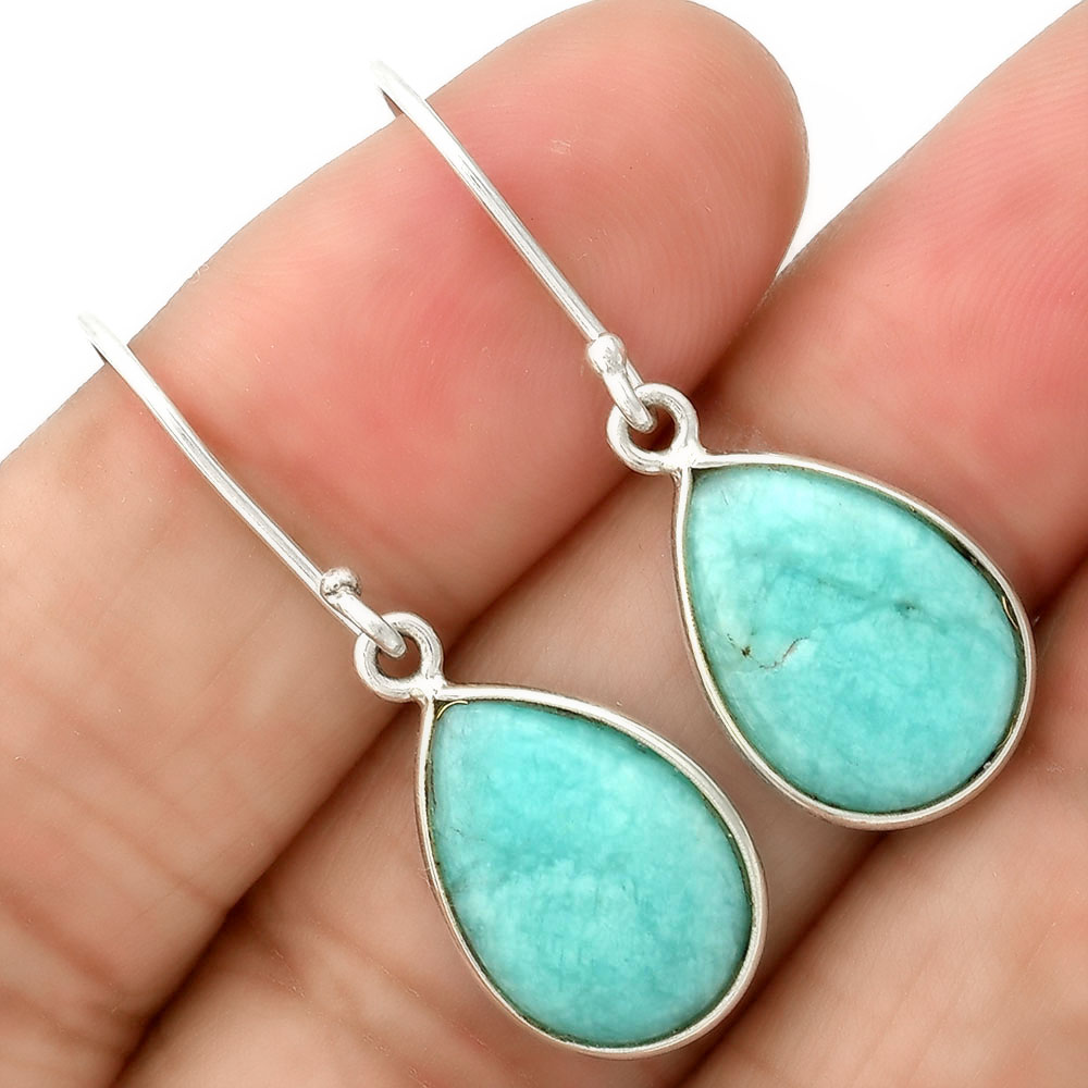 Natural Paraiba Amazonite 925 Sterling Silver Earrings Jewelry SDE35477