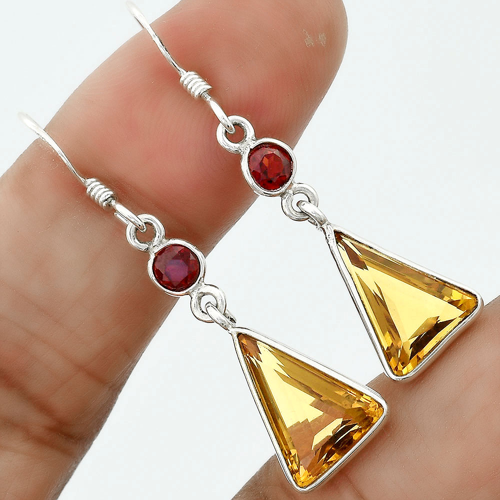 Natural Cognac Quartz and Garnet 925 Sterling Silver Earrings Jewelry SDE36287