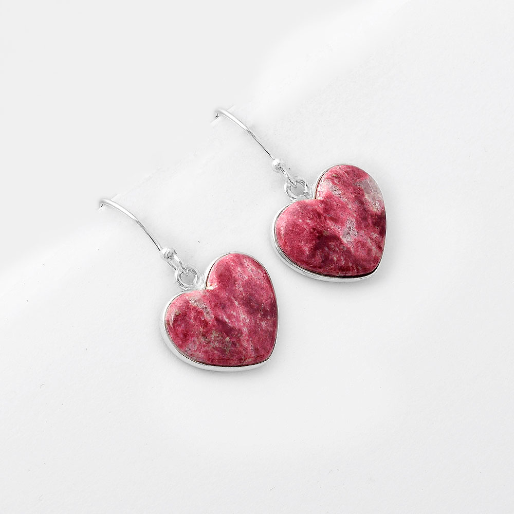 Thulite Suppliers Size 17x17x4 MM New Arrivals Natural Pink Thulite Pair Cabochon Jewellery Making Heart Shape AG-12583 Earring Pair