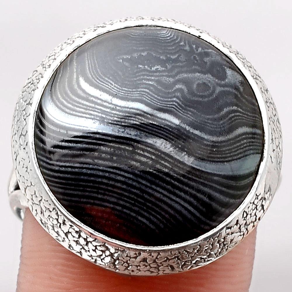 Crown Of Silver Psilomelane - Black Malachite 925 Silver Ring s.10 Jewelry SDR105184
