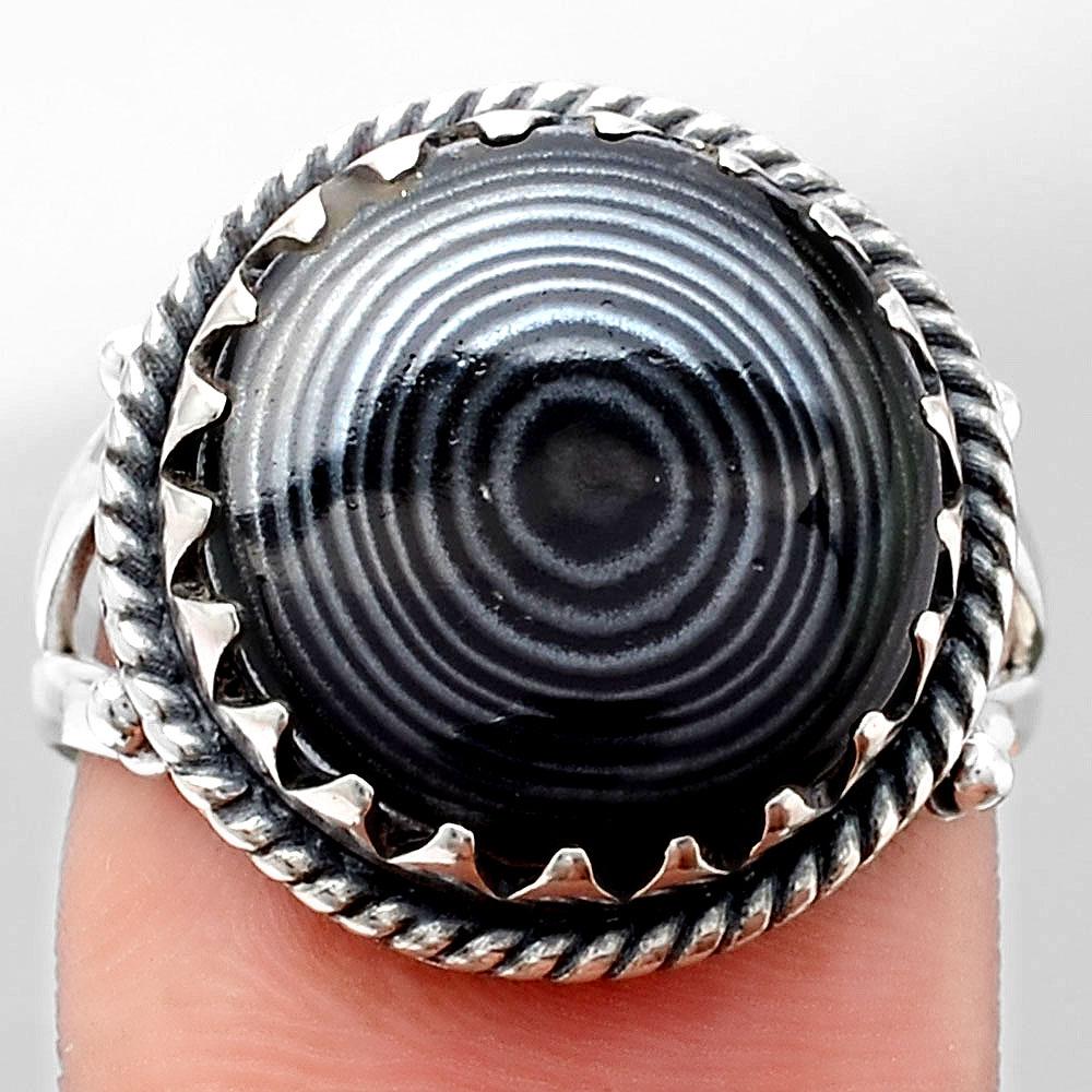 Crown Of Silver Psilomelane - Black Malachite 925 Silver Ring s.8 Jewelry SDR106616