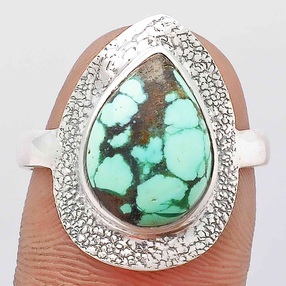 Natural Lucky Charm Tibetan Turquoise 925 Sterling Silver Ring s.8 Jewelry SDR106901