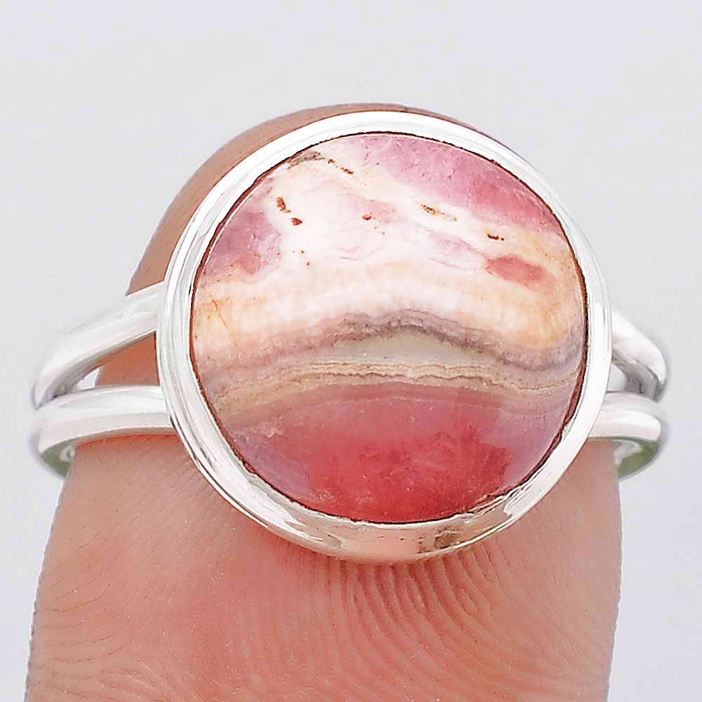 Natural Rhodochrosite Argentina 925 Sterling Silver Ring s.7.5 Jewelry SDR107279