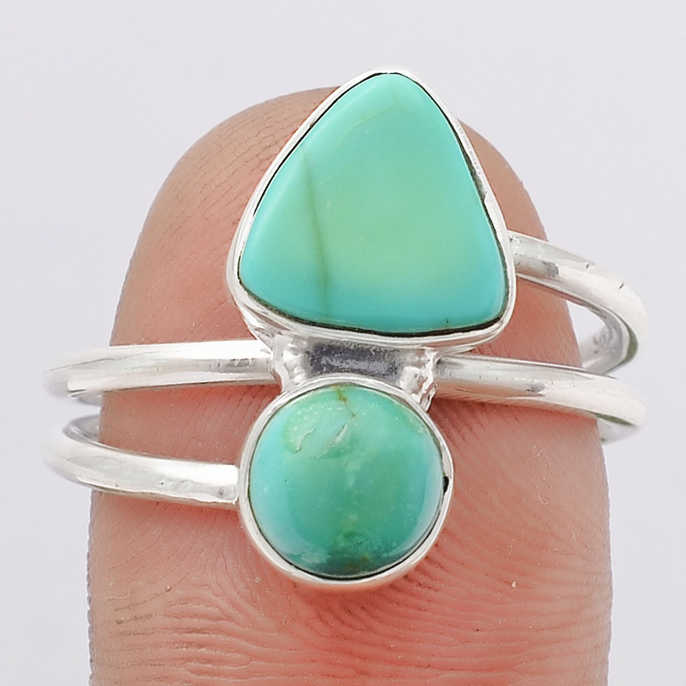 Natural Rare Turquoise Nevada Aztec Mt 925 Silver Ring s.8.5 Jewelry SDR108016