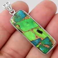 Blue Turquoise In Green Mohave Pendant SDP92492