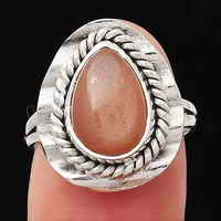 Peach Moonstone Ring size-7 SDR114480