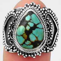Lucky Charm Tibetan Turquoise Ring size-8 SDR126067