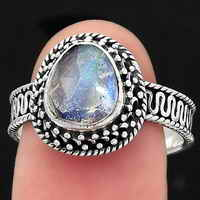 Filigree - Faceted Rainbow Moonstone Ring size-8 SDR138044